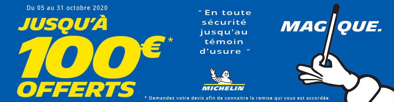 Jusqu'à 100€ offerts pour l'achat de pneus Michelin